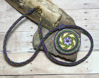 Bezel Button Pendant Bead Embroidery Kumihimo Necklace Beadwoven Pendant Gold Purple Necklace Gold Green Necklace Bead Button Necklace