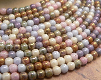 Opaque Luster Mix Czech Glass Round Druk Beads Picasso 4mm (100)