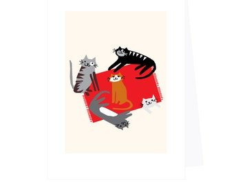 greeting cards silly cats on red rug note card collection