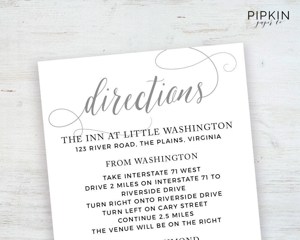Wedding directions card template printable wedding zoom stopboris Images