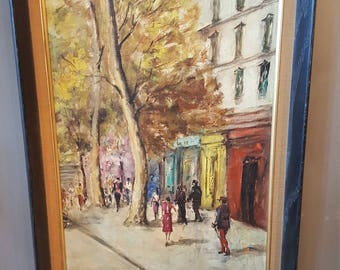 City Street Scene Vintage Painting  - European Street Scene - England France Italy New York