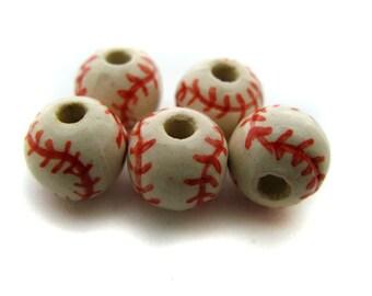 10 Ceramic beads - Red Baseball (medium)