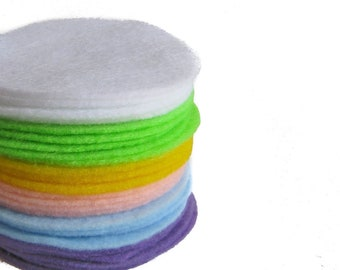 """300 pcs, 3"""" Hand cut Felt Circles in Easter Colors - white, neon green, yellow, baby pink, baby blue, lavender"""
