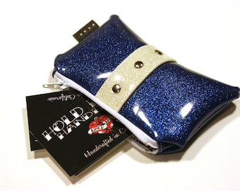 Blue Glitter Coin Purse with Your Choice of Trim, Rockabilly Pouch, Navy Blue Bag - MADE TO ORDER
