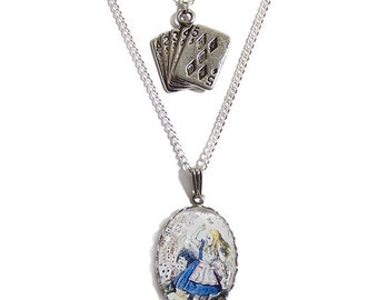 ALICE in wonderland necklace The CARDS charm pendant