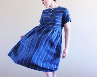 Blue Navy and White Striped Linen Dress