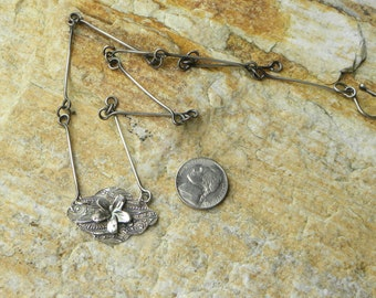 fine silver plumeria with sterling handmade chain