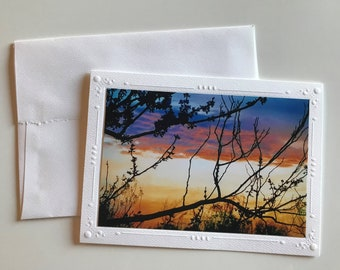 Redbud at Sunset Handmade Note Card, Blank Cards, Greeting Cards, Sunset Cards, Handmade Cards, Photo Note Cards, Card Gift Set