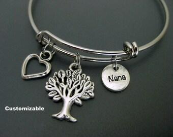 Nana Bracelet / Nana Bangle / Tree of Life Bangle / Gift Idea For Nana / Charm Bracelet / Adjustable Bangle / Expendable Bangle / Stackable