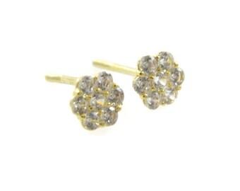 14K gold flower cz earrings. Gold flower stud earrings. Gold post earrings. Gold earrings. gold floral crystal studs. 14k earrings(e04375gz)