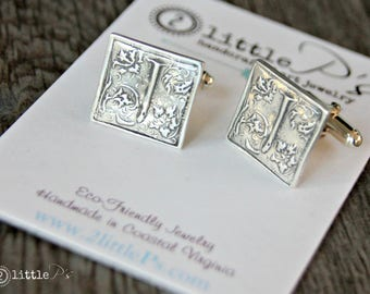 Monogram Cuff Links Gift for Him Personalized Pure Silver Jewelry Wax Seal Letter Cuff Links