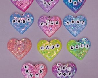 Kawaii Fairy Kei Harajuku resin heart pendants