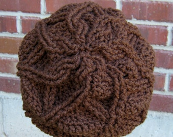 PDF CROCHET PATTERN Cabled Flower Slouchy Hat - women's hat - teen beanie - Can Sell items made from this pattern, instant download