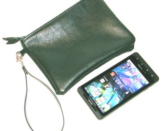 Hunter Green Lambskin Zippered Twin Pouch Wristlet Cosmetic Case iPhone Wallet Handmade