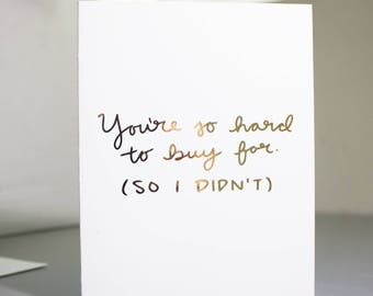 Funny Christmas Card / Real Gold Foil / Christmas Card / Funny Greeting Card / Real Foil Quote / Christmas Greeting Card / Hand Lettering
