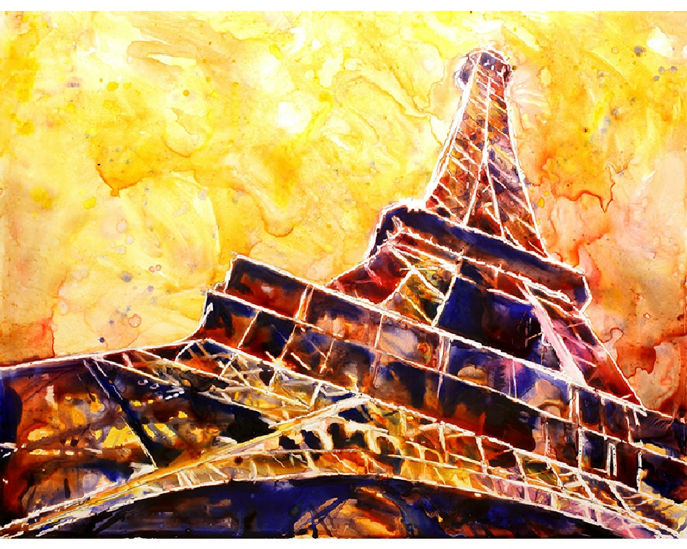 Painting of Eiffel Tower in Paris France. Eiffel Tower