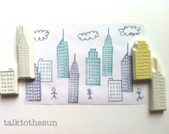 skyscraper rubber stamp set | architecture stamp | building | city landscape | card making | diy gift wrapping | hand carved by talktothesun