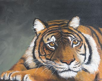 MEDITATING TIGER  PAINTING in acrylics