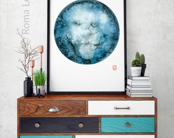 wall art watercolor painting Watercolor moon art print illustration original painting living room abstract home decor contemporary wall art