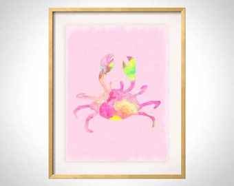 Pink Crab Watercolor Illustration, Pink Crab Print, Crab Illustration, Crab Art Print, Palm Beach Chic, Beach Nursery Art