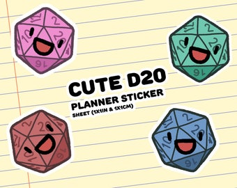 Cute D20 Planner Stickers (1x1in & 1x1cm)