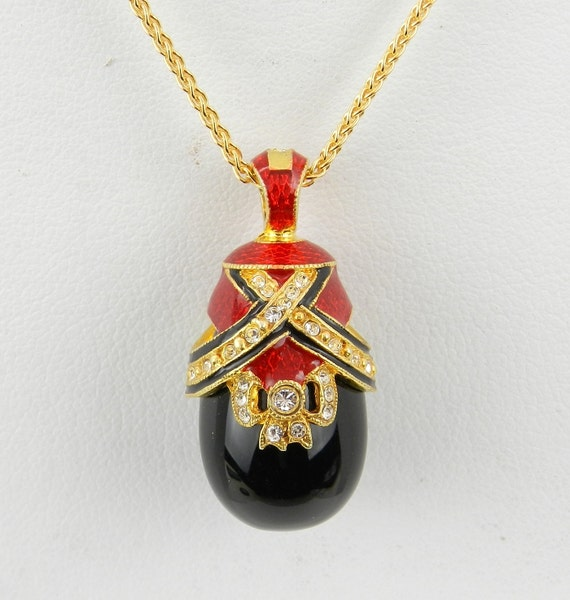 """Red Enamel and Black Onyx Swarovski Crystal Pendant 18K Yellow Gold over Sterling Silver with Chain 18"""" Faberge Style Egg"""