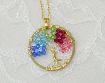 Swarovski Beaded Mother's Day necklace,Birthstone Mother's Day necklace,Mother's Day gift - Birthstone Tree of Life necklace