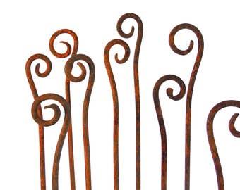 Scroll Garden Stakes Fiddle Heads-Sold Individually-Handmade- Metal Garden Art Home and Garden Decor