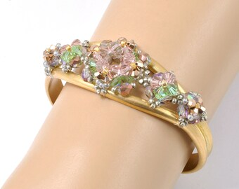 Beaded Art Bracelet with Color Change Swarovski Crystal Woven on Brass Cuff, Handcrafted Jewelry, Vintage Style Bracelet, Nostalgic Jewelry