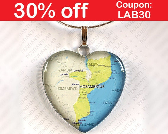 Mozambique Map Pendant Necklace Jewelry Charm Gift Heart