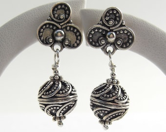 ornately decorated large Bali earrings 925 silver
