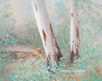 OIL Landscape painting, Australian gum trees painting, impressionist art, living room art, interior design, Etsy Art, Jan Matson