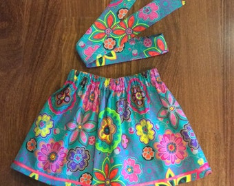 Teal Floral Skirt, little girl's skirt, Unique skirt, all year long skirt, toddler skirt