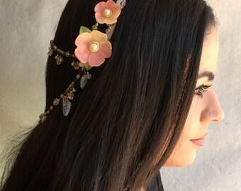 BOHO BEADED HEADBAND - Vintage Style Flower Headband by Colleen Toland