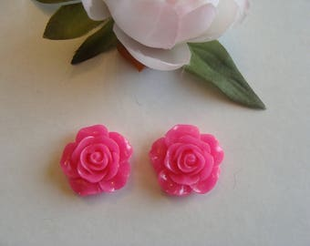 Lot 2 fuchsia pink color flower cabochons