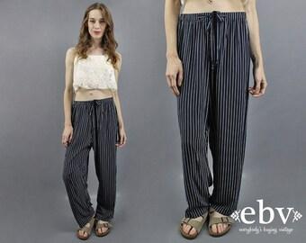 90s Pants 1990s Pants Striped Pants Navy Pants 90s Casual Pants Work Pants Day Pants Lightweight Pants Navy Blue Pants Nautical Pants M L