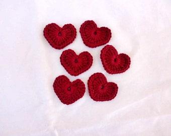 6 crochet hearts, crochet, cotton heart, bordeaux