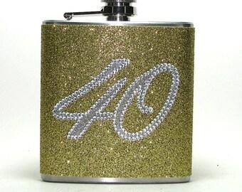 Happy 40th Birthday Gold Rhinestone Sparkly Glitter 6 oz Size Stainless Steel Liquor Hip Flask Flasks
