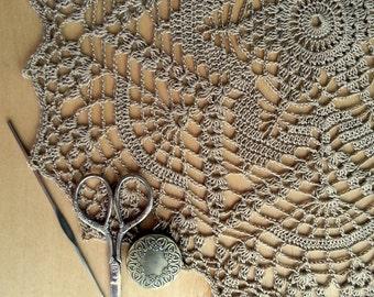 "Вrown crochet doily Round 38 cm / 15"". Crocheted Doily."