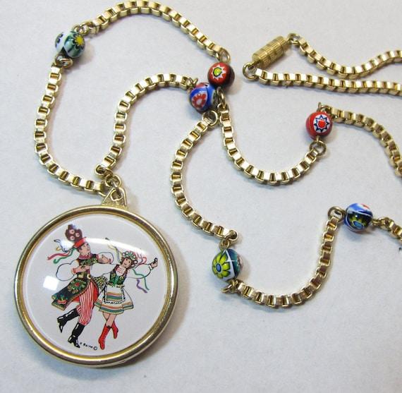 Vintage italian cameo pendant by r barno millefiore bead vintage italian cameo pendant by r barno millefiore bead chain aloadofball Image collections