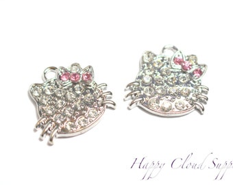 Kitty Rhinestone Charms - Package of 2