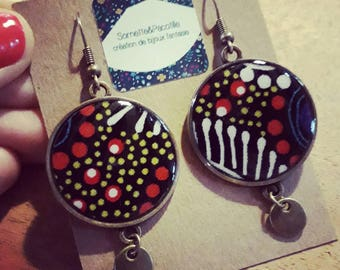 Resin/limited edition and Aboriginal fabric earrings / cabochon 25mm and charm