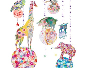Animal  Ornaments- baby art, modern nursery art, baby gift, baby girl, bubbles, cute, original,kids wall art, children art