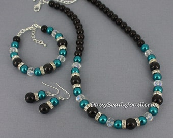 Bridesmaid Jewelry Teal Necklace Set Teal and Black Bracelet Gift for Moms maid of Honor Jewelry Wedding