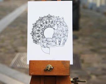 Postcard - Kitsune & Mandalas