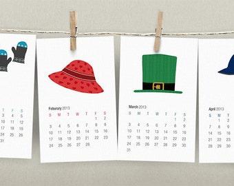 2018 Wall Calendar Printable PDF DIY - Illustrated Holiday and Seasonal Hats - Gift for Christmas or Holidays