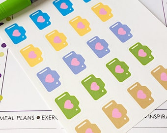 20 Camera Planner Stickers- Pastel Camera with Heart Stickers- perfect in your Erin Condren planner, wall calendar or scrapbook