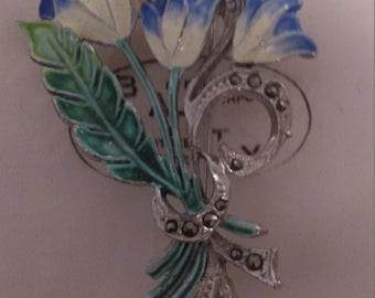 vintage cream and blue enamel marcasite flower brooch