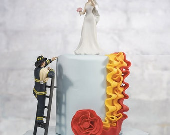 Fireman Wedding Cake Topper - Fireman Groom and Rescued Bride - To The Rescue Fireman - Wedding Cake Topper - Personalized Cake Topper