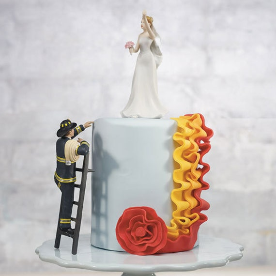 Fireman Wedding Cake Topper Fireman Groom and Rescued Bride